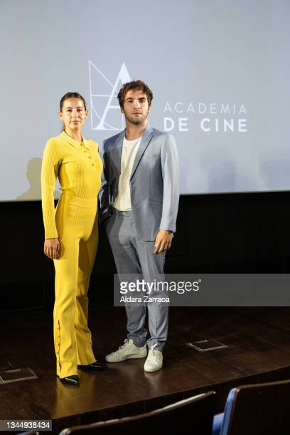 Irene Escolar and Ricardo Gomez pose at the announcement of the Spanish film candidate to Oscars 2002 at the Film Academy on October 05, 2021 in...