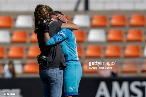 Irene Ferreras coachs of Valencia CF console Enith Salon of Valencia CF during the Spanish League Primera Iberdrola women football match played...