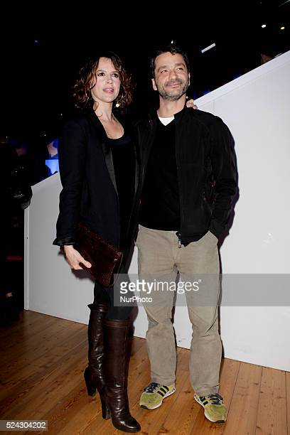 Irene Ferri and boyfriend Costanzo Gianni attend the 'Guest' premiere at Golden theater in Rome on February 4