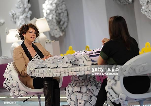 R Irene Ferri and Camila Raznovich attend Mamma Mia Italian TV Show on February 12 2012 in Milan Italy
