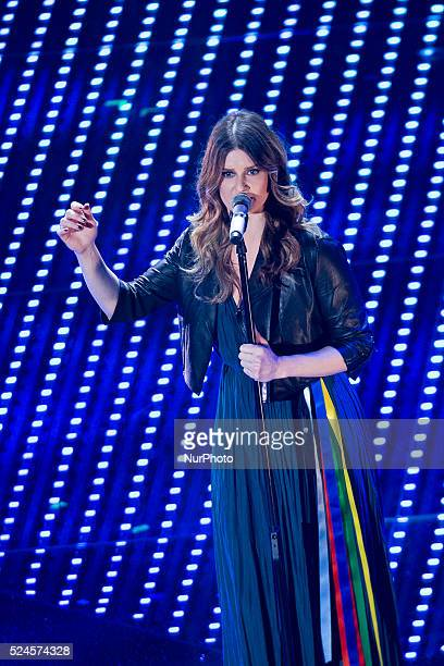 Irene Fornaciari attend the closing night of 66th Festival di Sanremo 2016 at Teatro Ariston on February 13 2016 in Sanremo Italy