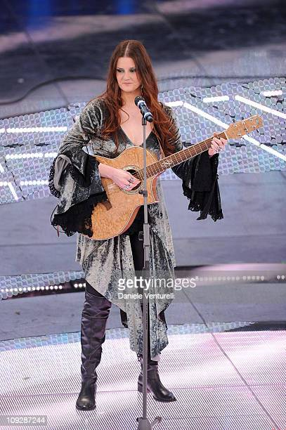Irene Fornaciari attends the 61th Sanremo Song Festival at the Ariston Theatre on February 18 2011 in San Remo Italy