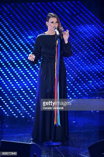 Irene Fornaciari attends the opening night of the 66th Festival di Sanremo 2016 at Teatro Ariston on February 9 2016 in Sanremo Italy
