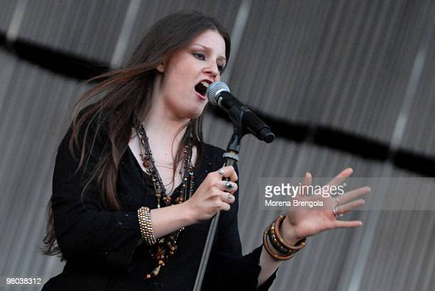 Irene Fornaciari performs in support of his father Zucchero at San Siro stadium on June 08, 2007 in Milan, Italy.