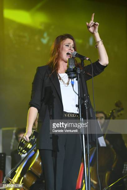 Irene Fornaciari performs on stage during the 60th Birthday Concert of Andrea Griminelli on November 20 2019 in Reggio nell'Emilia Italy