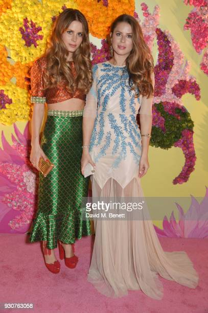Irene Forte and Lydia Forte attend the Holi Saloni celebrations in the RAAS Devigarh on March 9 2018 in Udaipur India