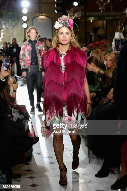 Irene Forte walks the Dolce Gabbana Italian Christmas catwalk show at Harrods on November 2 2017 in London England