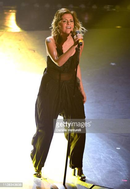 Irene Grandi on stage during the fourth night of the 69th Sanremo Music Festival at Teatro Ariston on February 08 2019 in Sanremo Italy