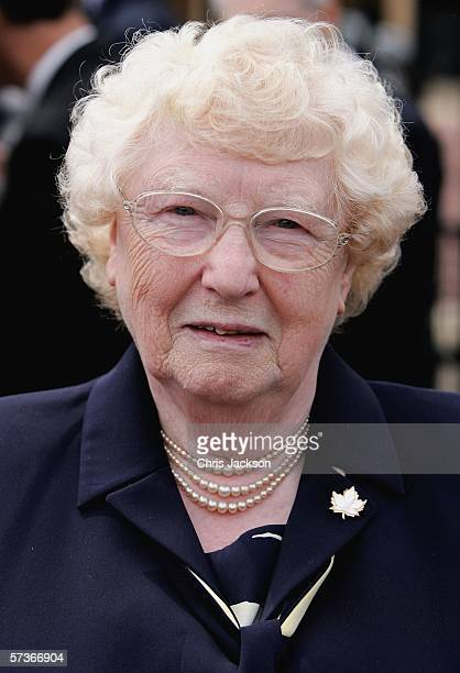 Irene Hutchings from Bury St Edmunds is seen before attending the Queen's 80th Birthday Lunch on April 19, 2006 at Buckingham Palace in London,...