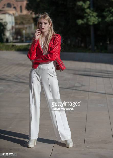 Irene is seen wearing a jacket from Stradivarius with pants and blouse from Hiddent Status during Barcelona 080 Fashion week on January 31 2018 in...
