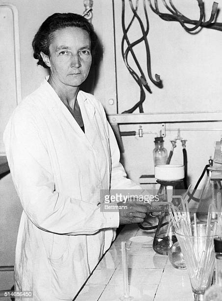 Irene JoliotCurie a physicist who won a Nobel Prize in 1935 works in a laboratory in Paris
