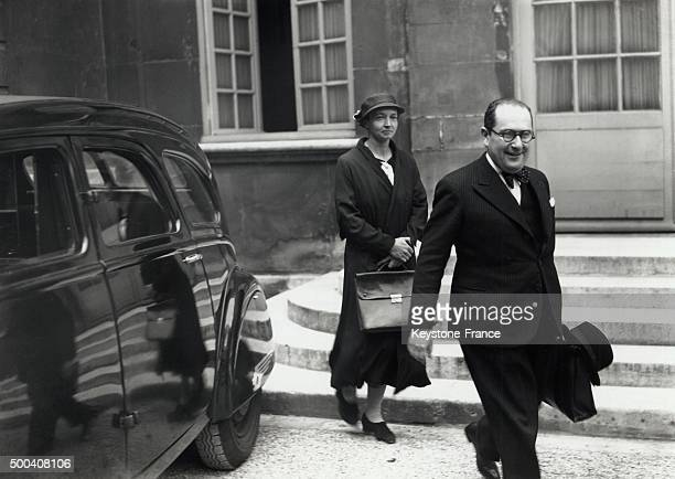 Irene JoliotCurie and Jean Zay just after a meeting on June 6 1936 in Paris France