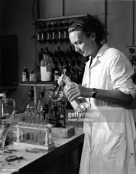 Irene JoliotCurie at the Radium Institute 1942 in Ivry France