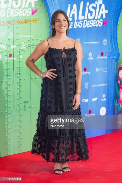 Irene Junquera poses for the photographers during the premiere of the film 'La lista de deseos' directed by Spanish film maker Alvaro Diaz Lorenzo at...