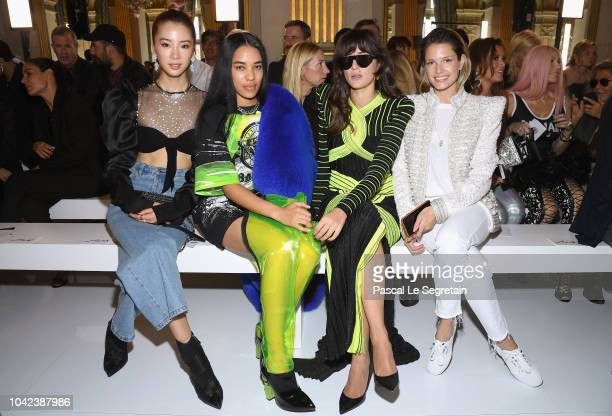 Irene Kim Aleali May Eleonora Carisi and Helena Bordon attend the Balmain show as part of the Paris Fashion Week Womenswear Spring/Summer 2019 on...
