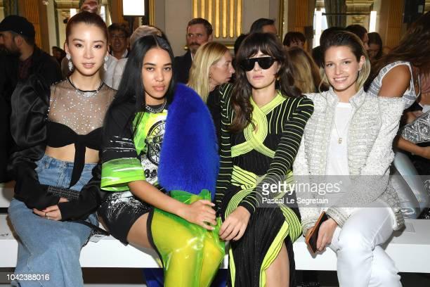 Irene Kim Aleali May Eleonora Carisi and Helena Bordon attend the Balmain show as part of the Paris Fashion Week Womenswear Spring/Summer 2019 on...