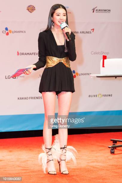 Irene Kim hosts the Band Photo Op at KCON 2018 LA at Los Angeles Convention Center on August 11 2018 in Los Angeles California