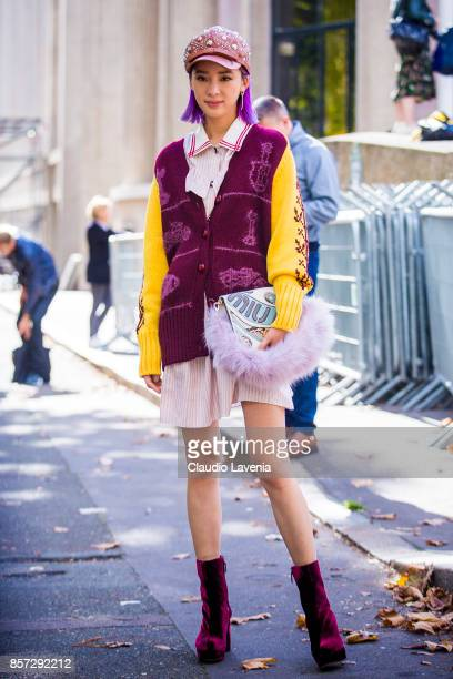 Irene Kim is seen after the Miu Miu show during Paris Fashion Week Womenswear SS18 on October 3 2017 in Paris France