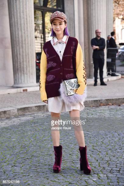 Irene Kim is seen arriving at Miu Miu show during Paris Fashion Week Womenswear Spring/Summer 2018 on October 3, 2017 in Paris, France.