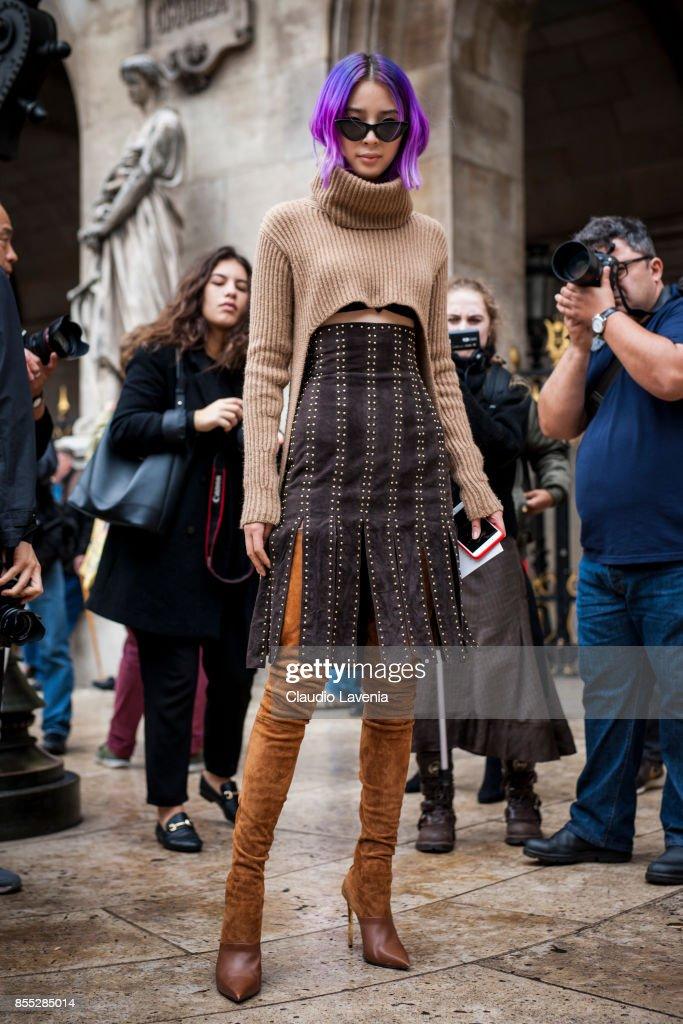Irene Kim is seen before the Balmain fashion show during Paris Fashion week Womenswear SS18 on September 28, 2017 in Paris, France.