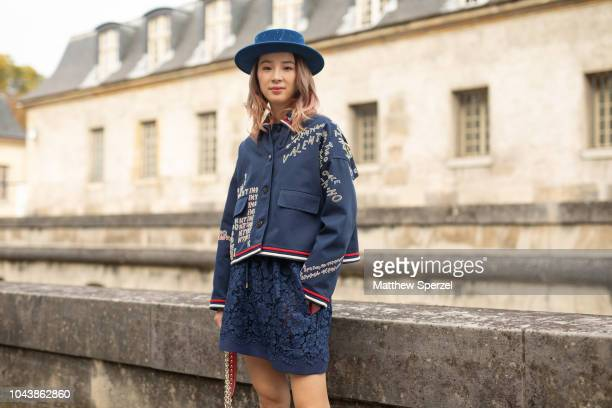 Irene Kim is seen on the street during Paris Fashion Week SS19 wearing Valentino on September 30 2018 in Paris France