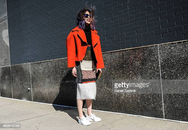 Irene Kim is seen outside the Calvin Klein show on February 19, 2015 in New York City.