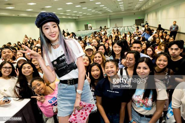 Irene Kim on instagram as @ireneisgood takes a selfie with the crowd at the KCON 2018 LA meet greet at Los Angeles Convention Center on August 11...