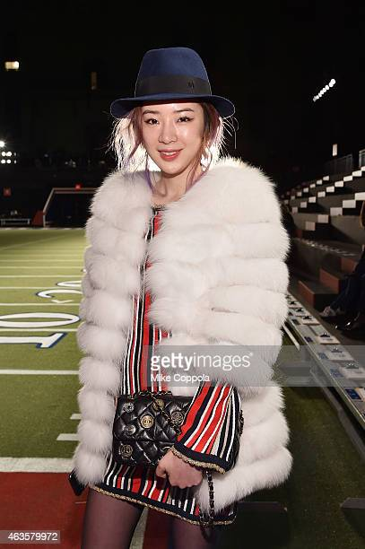 Irene Kim poses backstage at Tommy Hilfiger Women's during MercedesBenz Fashion Week Fall 2015 at Park Avenue Armory on February 16 2015 in New York...