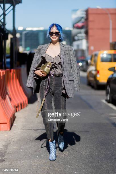 Irene Kim seen in the streets of Manhattan outside SelfPortrait during New York Fashion Week on September 9 2017 in New York City