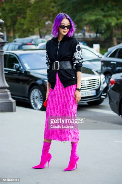 Irene Kim wearing a Chanel Jacket Isabel Marant belt Sies Marjan skirt and Balenciaga shoes is seen before the Maison Margiela show at the Grand...