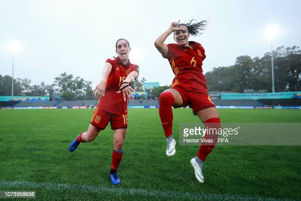 Irene Lopez of Spain and Eva Navarro of Spain celebrate after winning the game during the FIFA U17 Women's World Cup Uruguay 2018 semifinal match...
