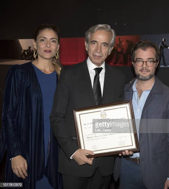 Irene Meritxell Imanol Arias and Buenos Aires Minister of Culture Enrique Avogadro attend 'Imanol Arias Named Guest Of Honour In Buenos Aires'...