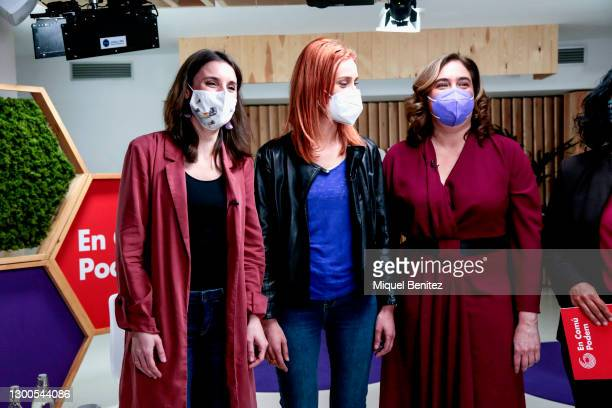 Irene Montero, Jessica Albiach and Barcelona's Mayor Ada Colau attend the Feminist event ahead of Catalan elections of 'En Comu Podem' colloquium at...