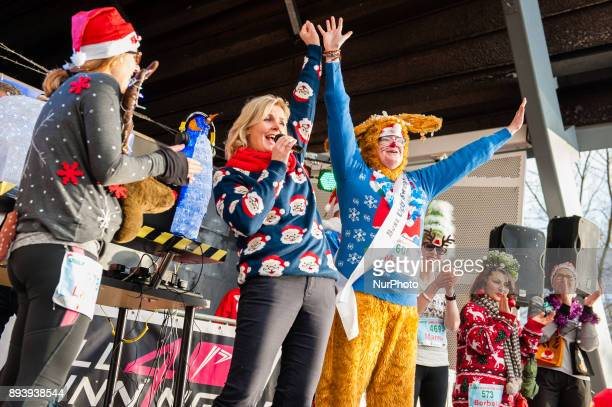 Irene Moors Dutch comedian TV personality singer and host takes part in an Ugly Christmas Sweater Run on December 16 2017 in The Vondelpark in...