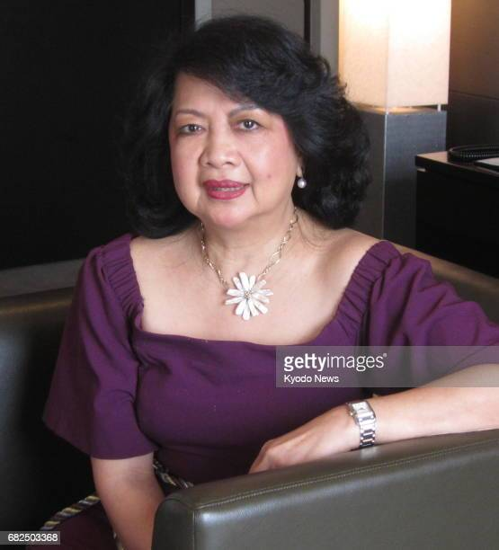 Irene Natividad president of the Global Summit of Women talks about women's empowerment during an interview with Kyodo News at a Tokyo hotel on May 9...