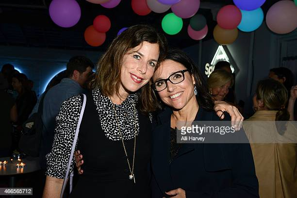 Irene Neuwirth and Julia LouisDreyfus attend Marie Claire Celebrates HBO's VEEP With Dinner Hosted By Spotify on March 16 2015 in Austin Texas