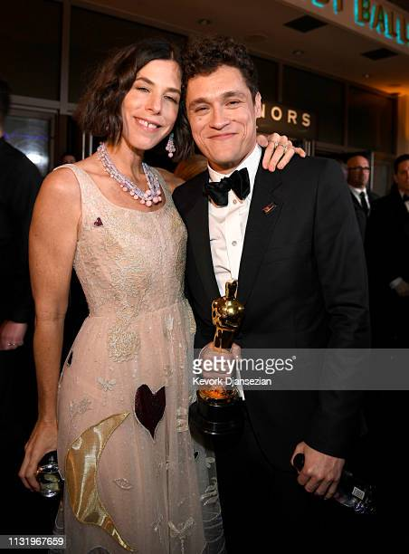 Irene Neuwirth and Phil Lord winner of the Animated Feature Film award for 'SpiderMan Into the SpiderVerse' attend the 91st Annual Academy Awards...