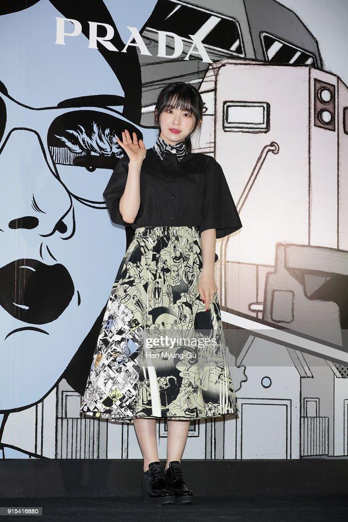 Irene of girl group Red Velvet attends the photocall for the 'PRADA' on February 7, 2018 in Seoul, South Korea.