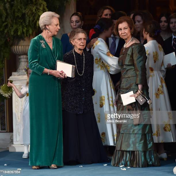 Irene of Greece, Queen Sofia of Spain and Princess Benedikte at the Athens' Orthodox Cathedral following wedding ceremony Nina Flohr and Prince...
