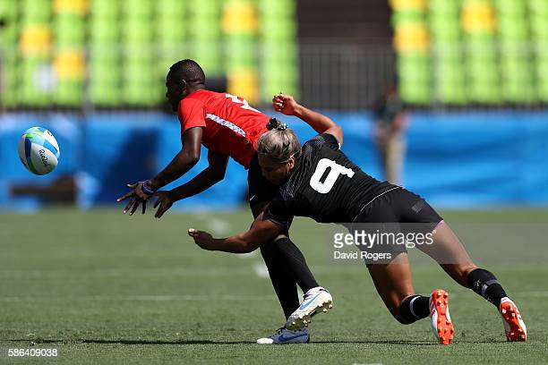 Irene Otieno of Kenya is tackled by Huriana Manuel of New Zealand during a Women's Pool B rugby match between New Zealand and Kenya on Day 1 of the...