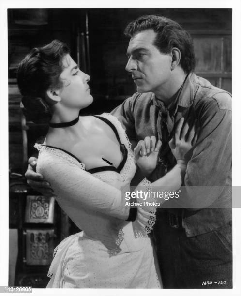 Irene Papas resisting Stephen McNally in a scene from the film 'Tribute To A Bad Man' 1956