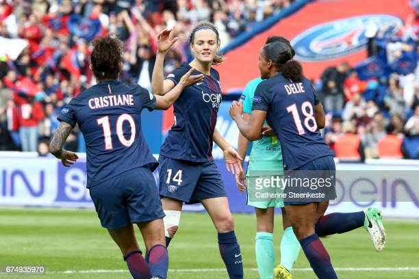 Irene Paredes celebrates her goal with Rozeira Cristiane of Paris SaintGermain during the Women's Champions League match between Paris Saint Germain...
