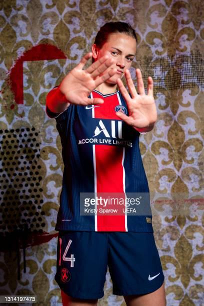 Irene Paredes of Paris Saint-Germain poses during the UEFA Women's Champions League Portraits at Paris Saint-Germain Training Ground on April 22,...
