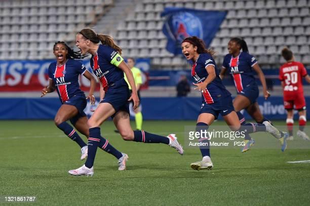 Irene Paredes of Paris Saint-Germain reacts after scoring during the D1 Arkema match between Paris SG and Dijon on June 04, 2021 in Paris, France.