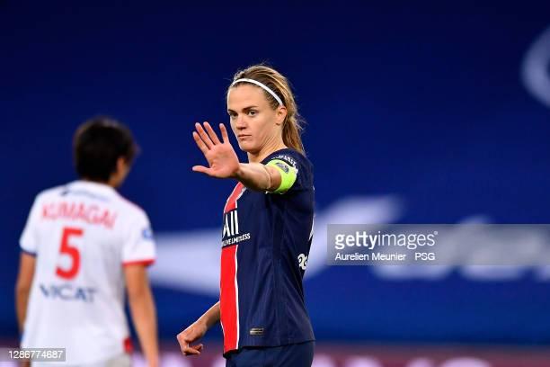 Irene Paredes of Paris Saint-Germain reacts during the D1 Arkema match between Paris Saint Germain and Lyon at Parc des Princes on November 20, 2020...