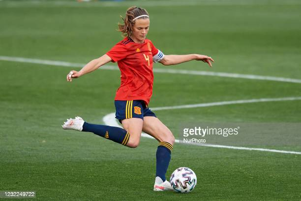 Irene Paredes of Spain controls the ball during the Women's International Friendly match between Spain and Netherlands on April 09, 2021 in Marbella,...