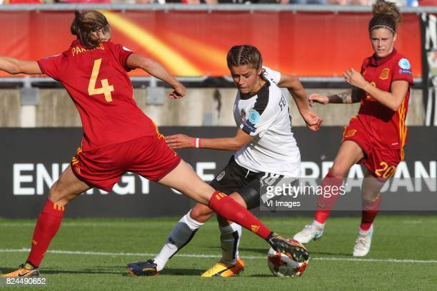 Irene Paredes of Spain Laura Feiersinger of Austria women Maria Leon of Spain during the UEFA WEURO 2017 quarter finale match between Austria and...