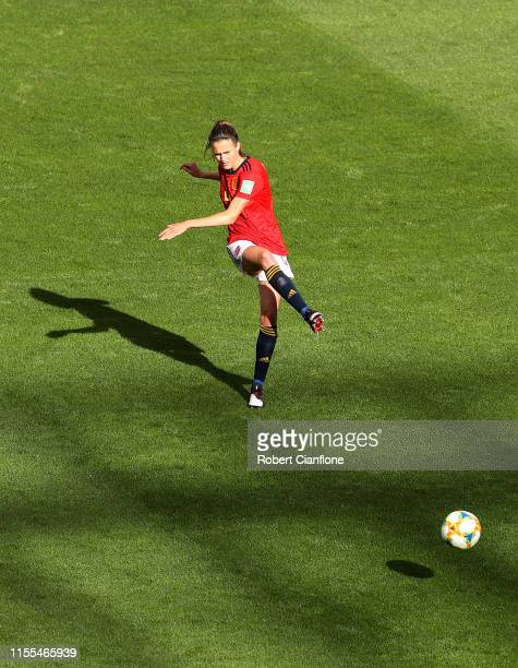 Irene Paredes of Spain passes the ball during the 2019 FIFA Women's World Cup France group B match between Germany and Spain at Stade du Hainaut on...