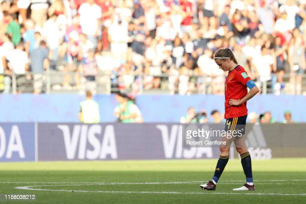 Irene Paredes of Spain reacts to losing the 2019 FIFA Women's World Cup France Round Of 16 match between Spain and USA at Stade Auguste Delaune on...