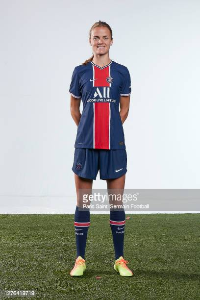 Irene Paredes poses during a Paris Saint-Germain Women squad photoshoot at Ooredoo Center on September 23, 2020 in Paris, France.
